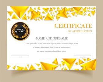 Plantilla de certificado con diseño dorado