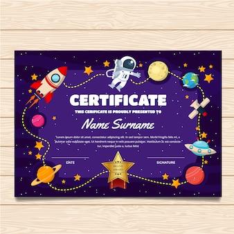 Plantilla de certificado con diseño espacial