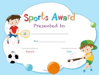 Plantilla de certificado con dos niños jugando deportes