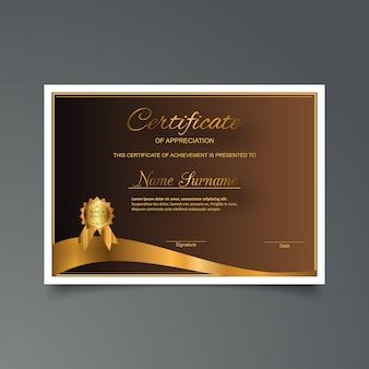 Plantilla de certificado de gratitud dorado