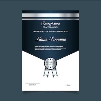 Plantilla de certificado de gratitud en azul y plateado