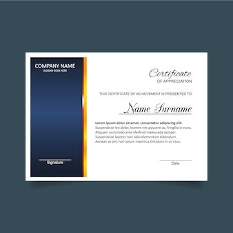 Plantilla de certificado de gratitud en blanco y azul