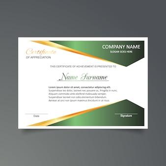 Plantilla de certificado de gratitud en blanco y verde