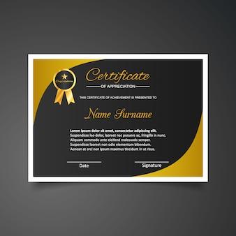 Plantilla de certificado de gratitud en negro y dorado