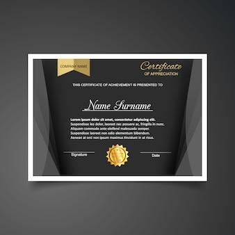 Plantilla de certificado de gratitud en negro