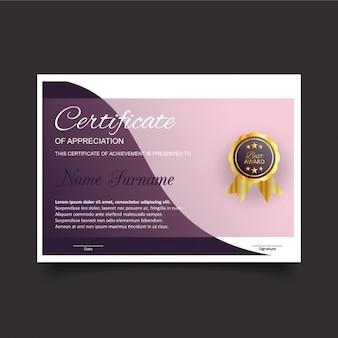 Plantilla de certificado de gratitud en rosa y morado