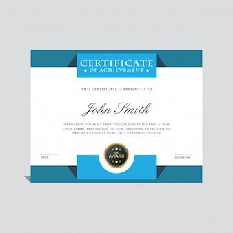 Plantilla de certificado elegante azul