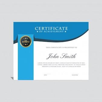 Plantilla de certificado moderno azul