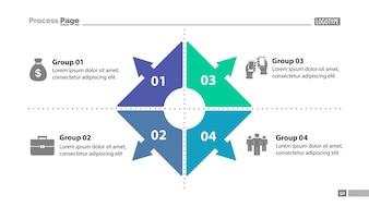 Plantilla de diapositivas de cuatro gráficos de grupo