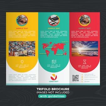 Plantilla de diseño trifold de negocios de colores
