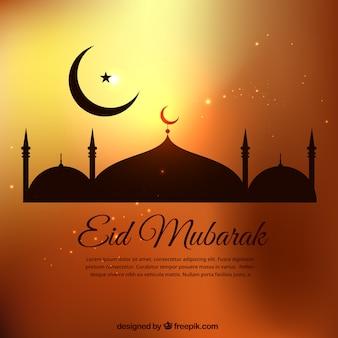 Plantilla de Eid Mubarak en tonos dorados