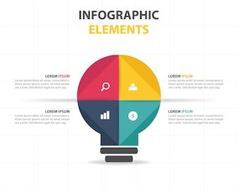 Plantilla de elementos infográficos con concepto de bombilla