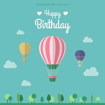 Plantilla de felicitación de cumpleaños con globo