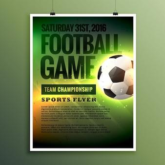 Plantilla de flyer de juego de fútbol