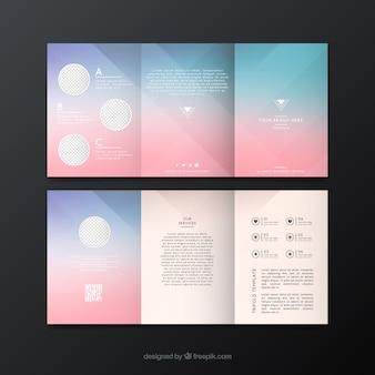 Plantilla de folleto borroso en tonos rosas y azules