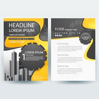 Plantilla de folleto comercial con amarillo y gris