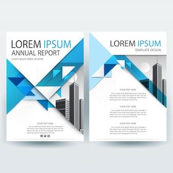 Plantilla de folleto comercial con formas de triángulo azul