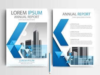 Plantilla de folleto comercial con formas geométricas azules