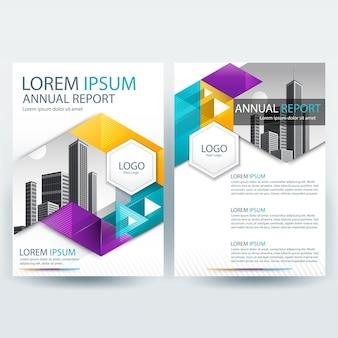 Plantilla de folleto comercial con formas geométricas