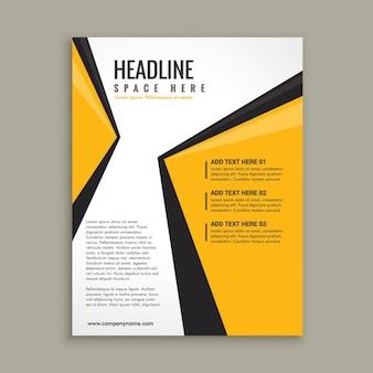 Plantilla de folleto con formas abstractas amarillas