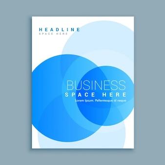Plantilla de folleto con formas circulares azules