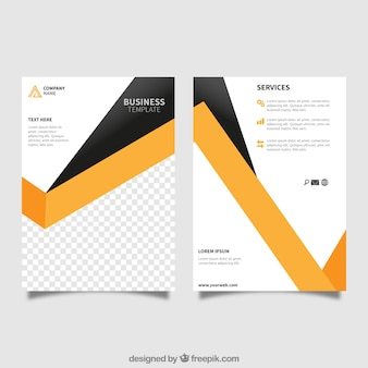 Plantilla de folleto con formas geométricas para negocios