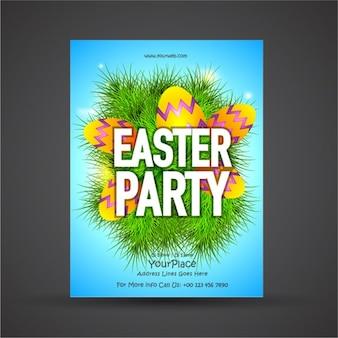 Plantilla de folleto de fiesta de pascua con hierba y huevos de colores