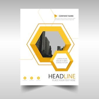 Plantilla de folleto de negocios con formas geométricas amarilla