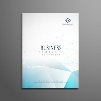 Plantilla de folleto de negocios con formas poligonales azules