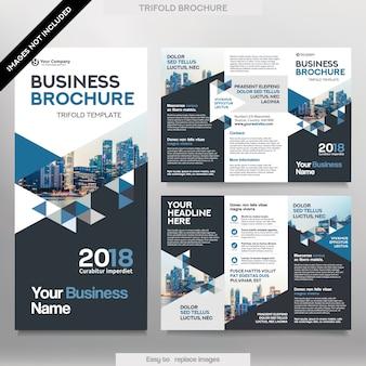 Plantilla de folleto de negocios en el diseño de tres pliegues. Corporate Design Leaflet con imagen reemplazable.