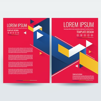 Plantilla de folleto de negocios, plantilla de diseño de volantes, perfil de empresa, revista, cartel, informe anual, libro y portada de folleto, con rojo y azul geométrico, en tamaño a4.