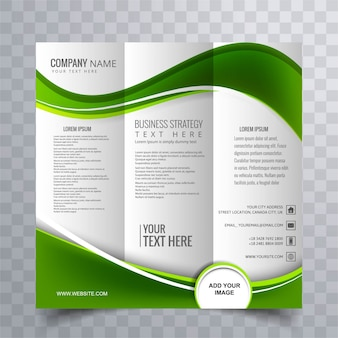 Plantilla de folleto de negocios verde ondulado