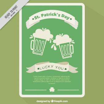 Plantilla de folleto del día de san patricio con cervezas planas