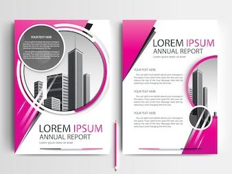 Plantilla de folleto empresarial con formas de círculo rosa
