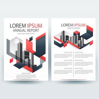 Plantilla de folleto empresarial con formas geométricas de rojo y gris