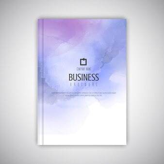 Plantilla de folleto empresarial con textura de acuarela