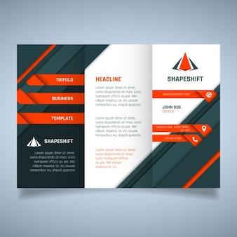 Plantilla de folleto geométrico de negocios naranja y negro