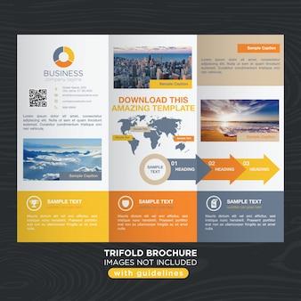 Plantilla de folleto trifold colorido vibrante del negocio del viaje