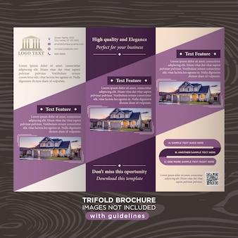 Plantilla de folleto trifold del diseño de negocio púrpura elegante