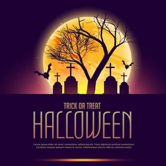Plantilla de fondo con un árbol y un cementerio para halloween