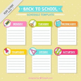 Plantilla de horario escolar con materiales