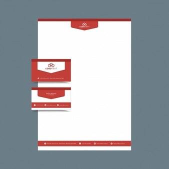 Plantilla de identidad corporativa en color rojo
