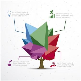 Plantilla de infografía con diseño de árbol