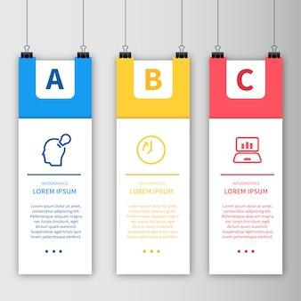 Plantilla de infografía con diseño de póster colgante
