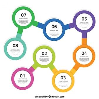 Plantilla de infografía con pasos circulares
