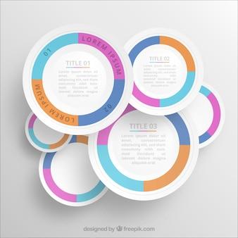 Plantilla de infografía redonda de colores