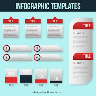 Plantilla de infografía roja y blanca
