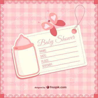 Plantilla de invitación de bebé niña