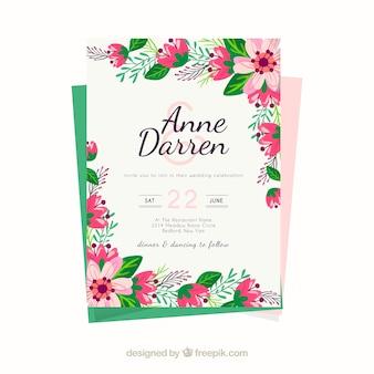 Plantilla de invitación de boda con flores bonitas