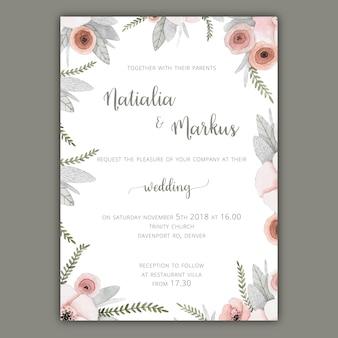Plantilla de invitación de boda con flores en colores pastel